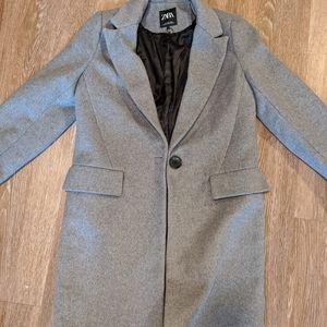 Zara Heather Grey Wool Coat